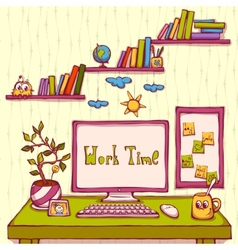 Cartoon of workplace in office vector