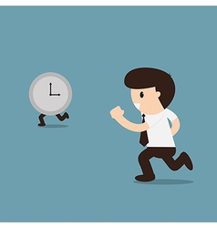 Businessman running with time vector