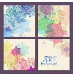 Set of ornamental artistic watercolor banners vector