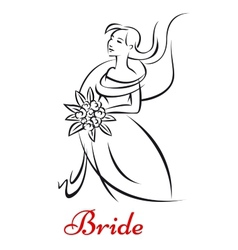Beautiful bride in white dress vector