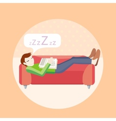 Man sleeping on sofa vector