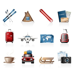 Winter vacation icons vector