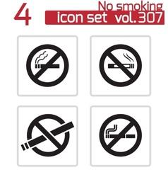 Black no smoking icons set vector
