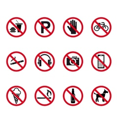 Prohibition and warning signs vector