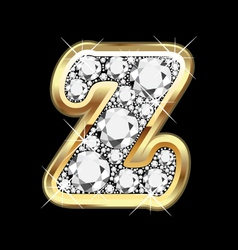 Letter z gold and diamond bling bling vector