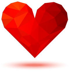 Geometric red 3d valentine heart vector