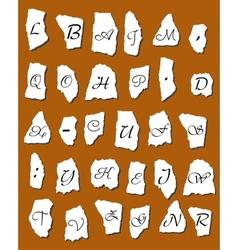 Alphabet letters on scraps of paper vector