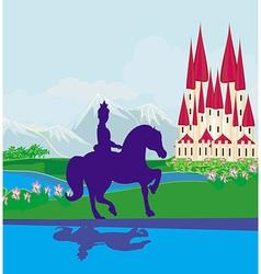 Prince riding a horse to the castle vector