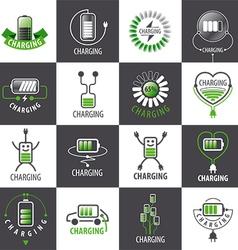 Large set of logos charging accumulators vector