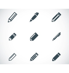 Black pencil icons set vector