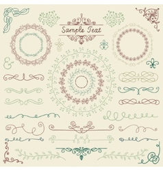 Colorful hand sketched design elements vector