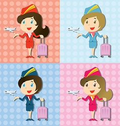 Stewardess with uniform and little airplane vector