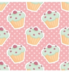 Tile pattern with cupcakes and polka dots on pink vector