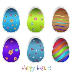 Set of six easter eggs vector