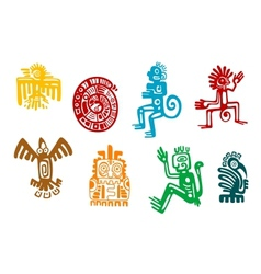 Abstract maya and aztec art symbols vector