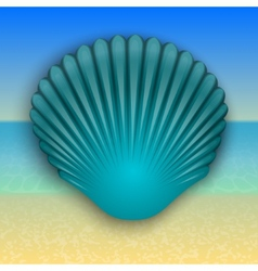 Blue shell on the summer sea beach vector