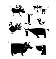 Comic farm animal silhouettes vector