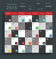Calendar 2015 modern business flat icons set vector