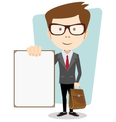 Cartoon businessman holding blank message board vector