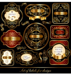 Set of black-golden elegance labels vector