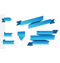 Set of modern blue ribbons vector