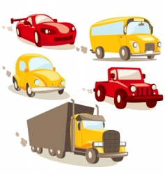 Cars and trucks vector