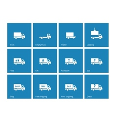 Commercial delivery truck icons on blue background vector
