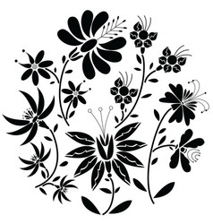 Black floral folk pattern in circle shape vector