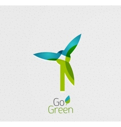 Eco windmill abstract shape design vector