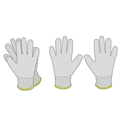 Pair of white fabric working gloves vector
