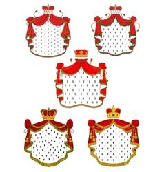 Heraldic red royal mantles set vector