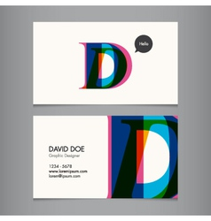 Business card template letter d vector