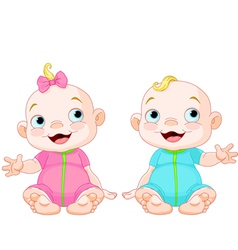 Cute smiling twins vector