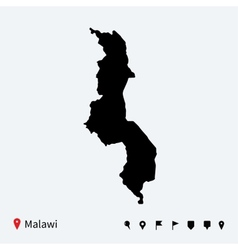 High detailed map of malawi with navigation pins vector