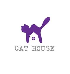 Cat house concept design template vector