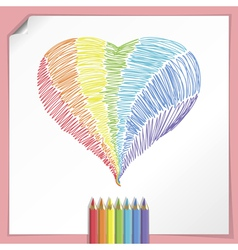 Rainbow heart with colour pencils vector