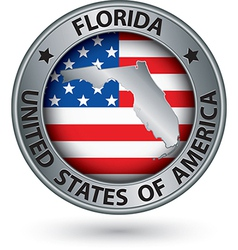 Florida state silver label with state map vector