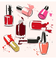 Hand drawing with nail polish vector