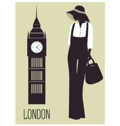 Woman in london vector