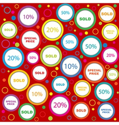 Wrapping paper with sold and discounds adverts in vector