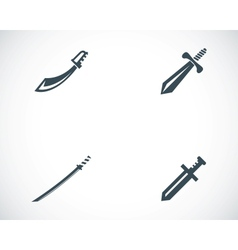 Black sword icons set vector