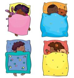 Kids sleeping african vector