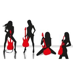 Elegant silhouette girls vector