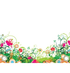 Popart floral background with circles vector