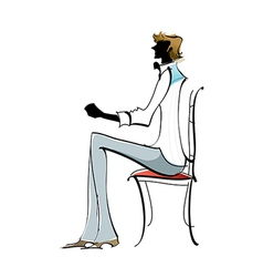 Side view of man sitting on chair vector