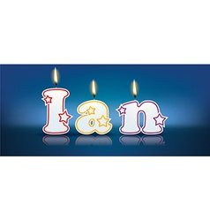 Ian written with burning candles vector