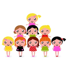 Happy little girls group isolated on white vector
