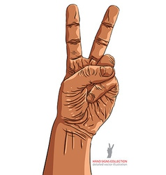 Victory hand sign african ethnicity detailed vector