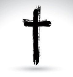 Hand drawn black grunge cross icon simple vector