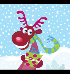 Red nosed rudolph on snow vector